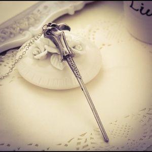 Harry Potter Gun Metal Magic Wand Necklace